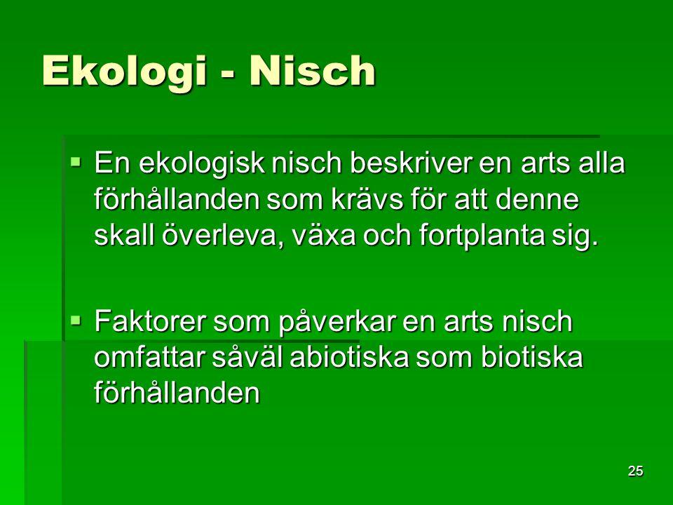25 Ekologi - Nisch  En ekologisk nisch beskriver en arts alla förhållanden som krävs för att denne skall överleva, växa och fortplanta sig.  Faktore
