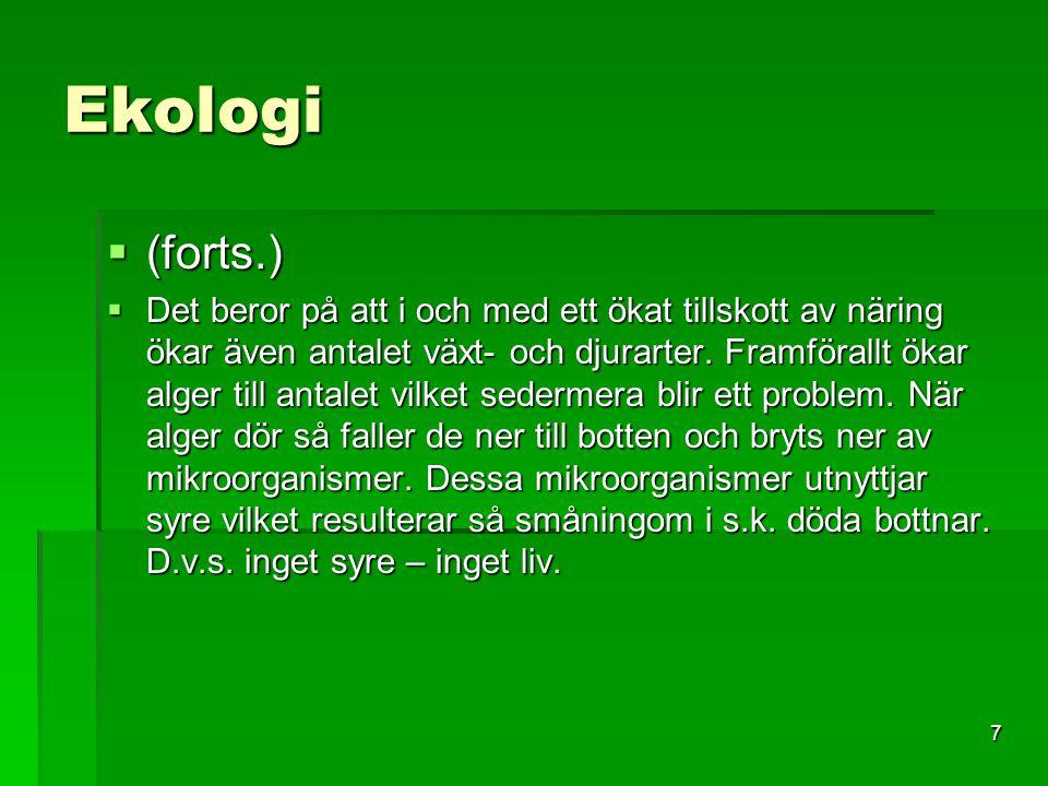 8 Ekologi  Ekologin ger svar på frågan HUR vissa delar av Östersjön kan vara syrefria (processen)  Ekologin ger även svar på frågan VARFÖR syrefria delar av Östersjön uppstår (tillförsel av näringsämnen)