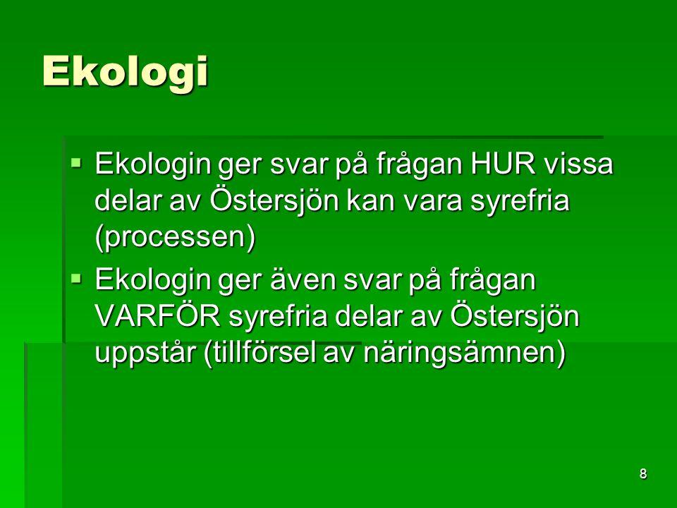 8 Ekologi  Ekologin ger svar på frågan HUR vissa delar av Östersjön kan vara syrefria (processen)  Ekologin ger även svar på frågan VARFÖR syrefria