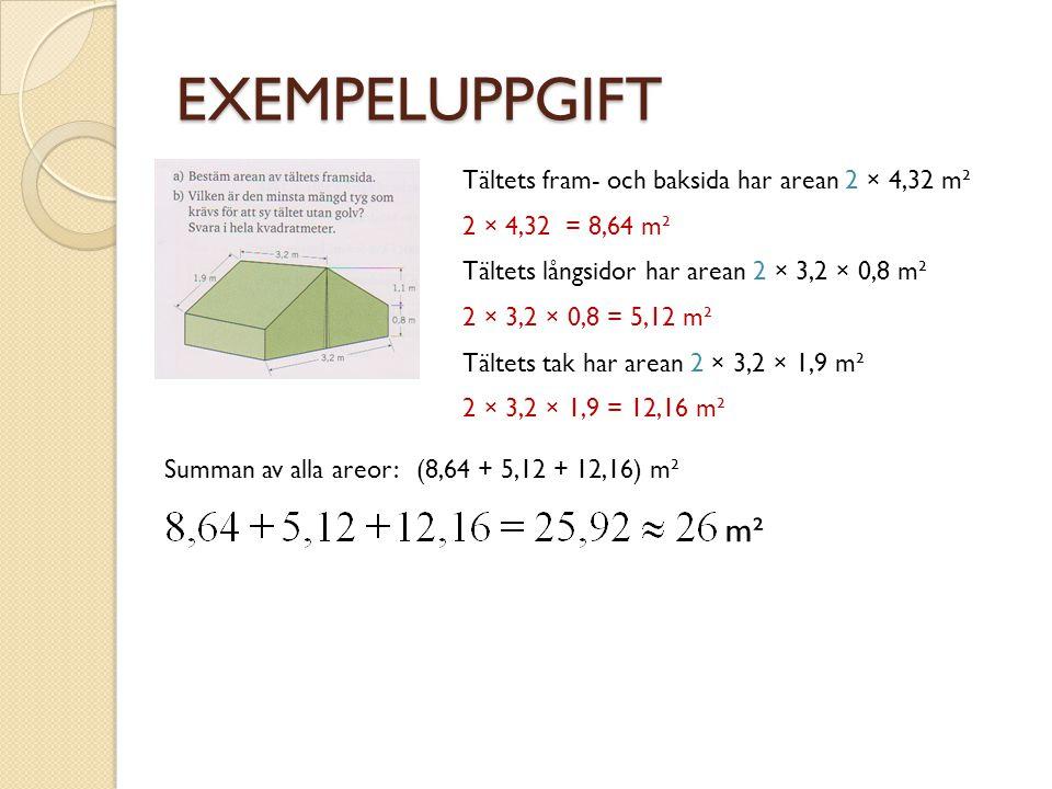 EXEMPELUPPGIFT Tältets fram- och baksida har arean 2 × 4,32 m² 2 × 4,32 = 8,64 m² Tältets långsidor har arean 2 × 3,2 × 0,8 m² Tältets tak har arean 2