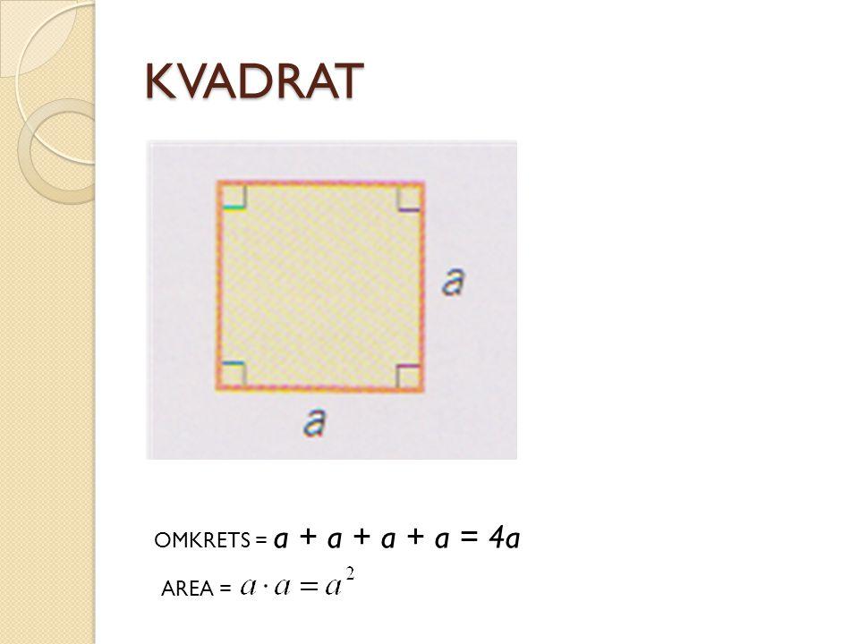 KVADRAT OMKRETS = a + a + a + a = 4a AREA =