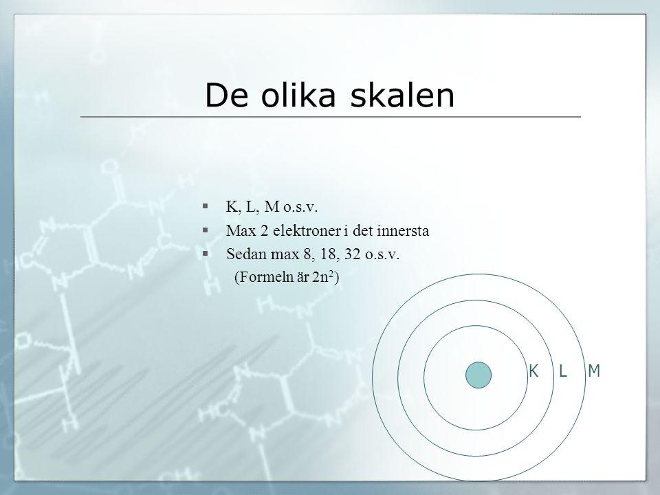 De olika skalen  K, L, M o.s.v.  Max 2 elektroner i det innersta  Sedan max 8, 18, 32 o.s.v. (Formeln är 2n 2 ) K L M
