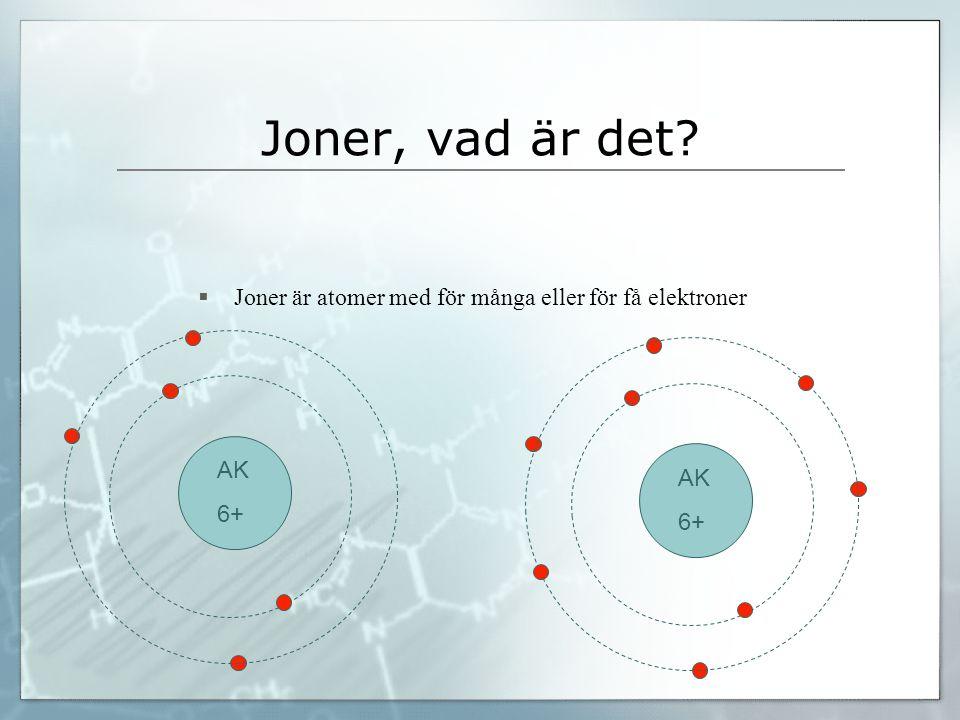 Joner, vad är det?  Joner är atomer med för många eller för få elektroner AK 6+ AK 6+