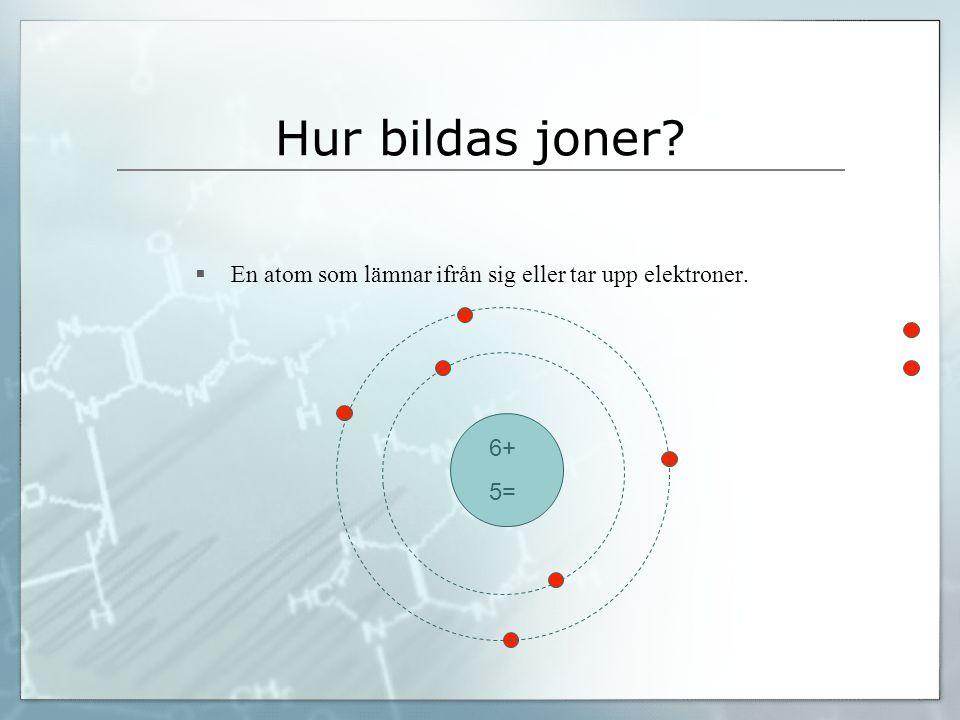 Hur bildas joner?  En atom som lämnar ifrån sig eller tar upp elektroner. 6+ 5=