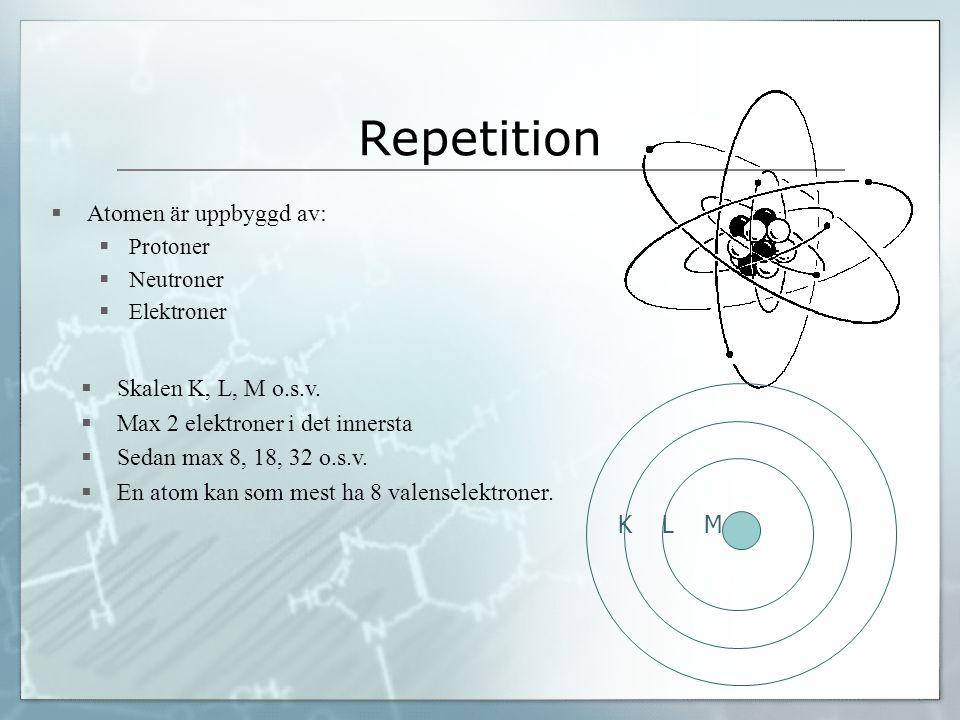 Repetition  Atomen är uppbyggd av:  Protoner  Neutroner  Elektroner  Skalen K, L, M o.s.v.  Max 2 elektroner i det innersta  Sedan max 8, 18, 3