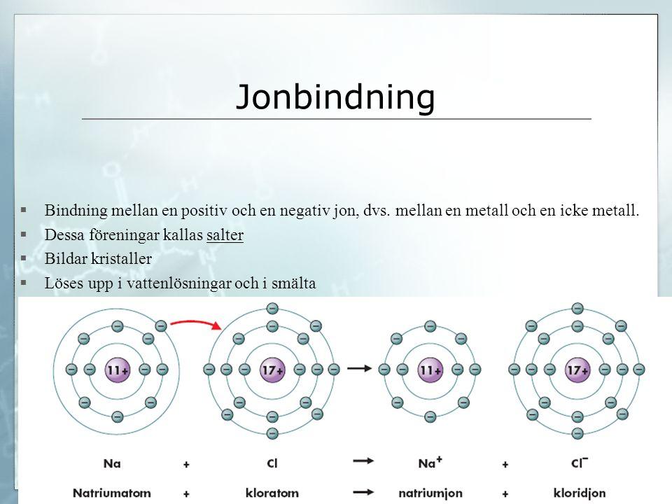 Jonbindning  Bindning mellan en positiv och en negativ jon, dvs. mellan en metall och en icke metall.  Dessa föreningar kallas salter  Bildar krist