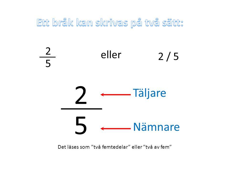 """2 5 eller 2 / 5 2 5 Täljare Nämnare Det läses som """"två femtedelar"""" eller """"två av fem"""""""
