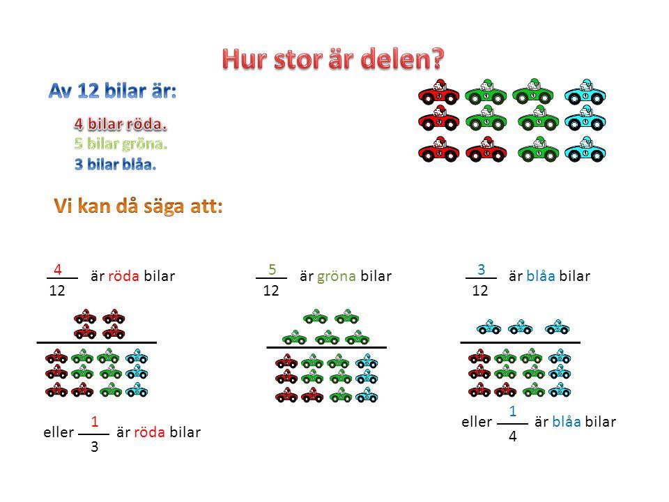4 12 är röda bilar eller 1 3 är röda bilar 5 12 är gröna bilar 3 12 är blåa bilar eller 1 4 är blåa bilar