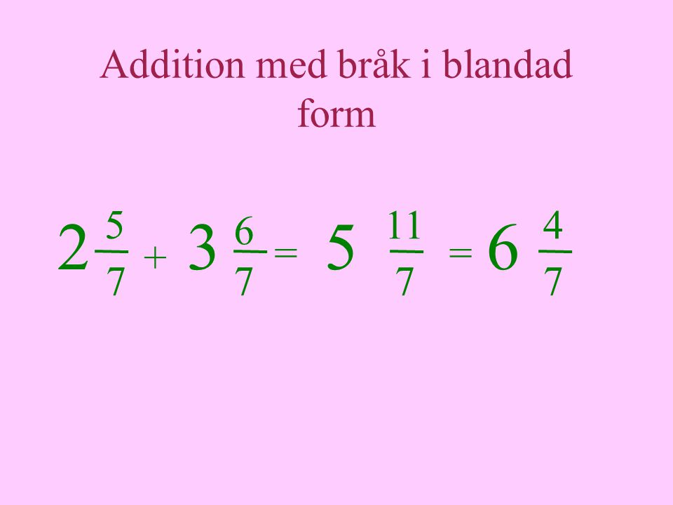 Addition med bråk i blandad form 5 = 7 + 6 11 77 = 4 7 6235