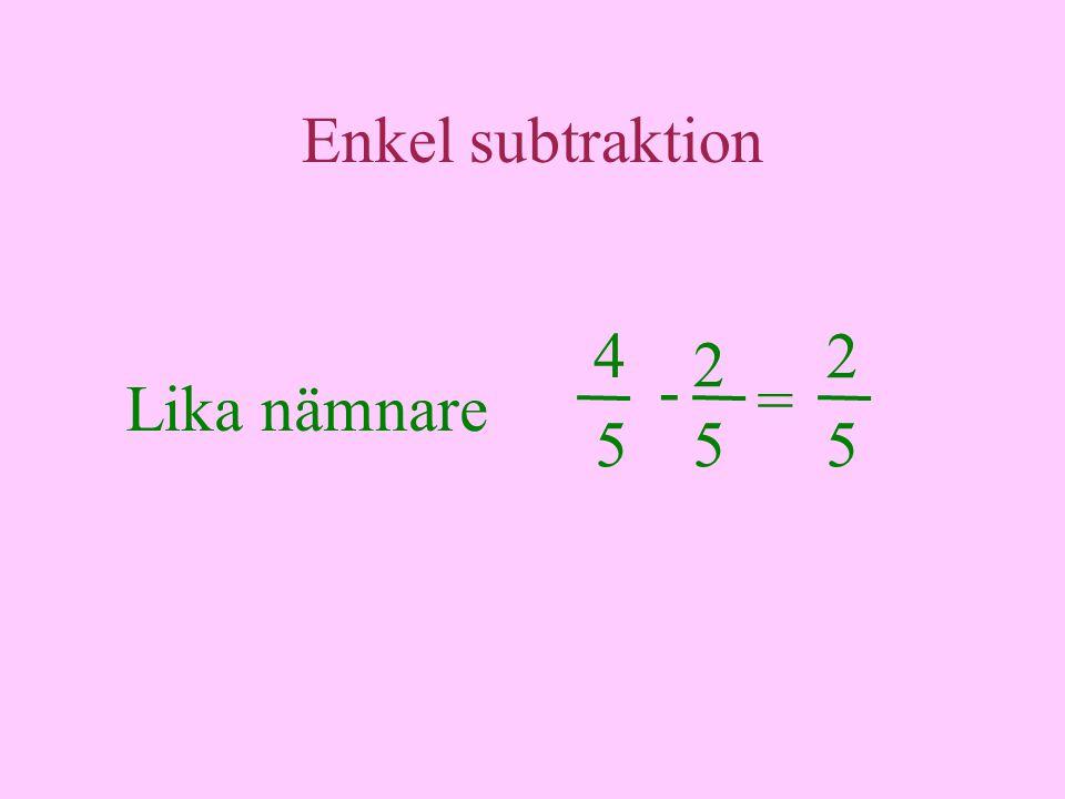 Enkel subtraktion Lika nämnare 4 = 5 - 2 2 55
