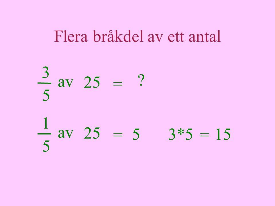 Flera bråkdel av ett antal 3 = 5 ? av 25 1 = 5 av 25 5 = 153*5
