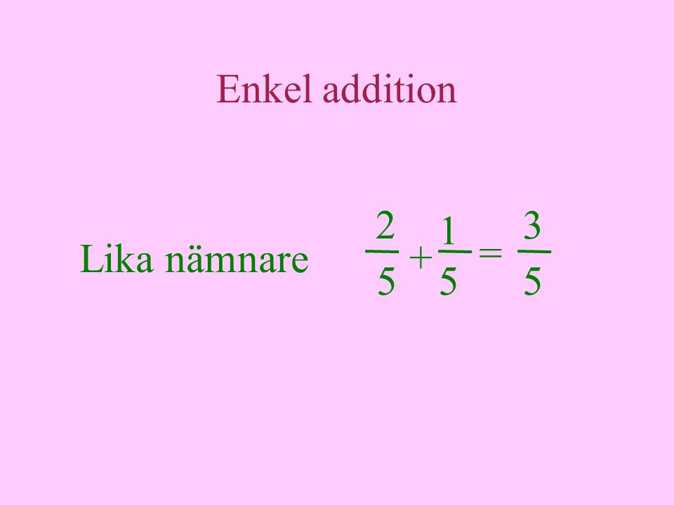Enkel addition Lika nämnare 2 = 5 + 1 3 55