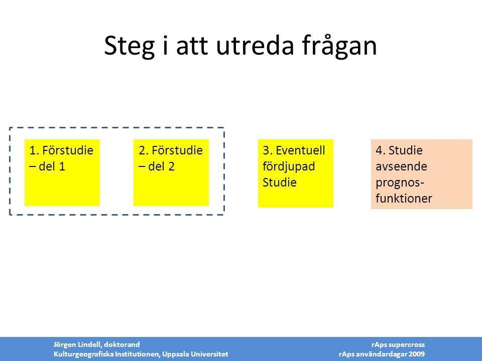 Steg i att utreda frågan 2 Jörgen Lindell, doktorand Kulturgeografiska Institutionen, Uppsala Universitet rAps supercross rAps användardagar 2009 3. E