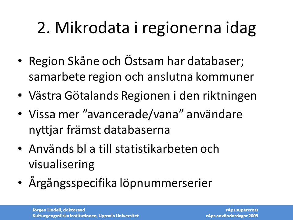 2. Mikrodata i regionerna idag Region Skåne och Östsam har databaser; samarbete region och anslutna kommuner Västra Götalands Regionen i den riktninge
