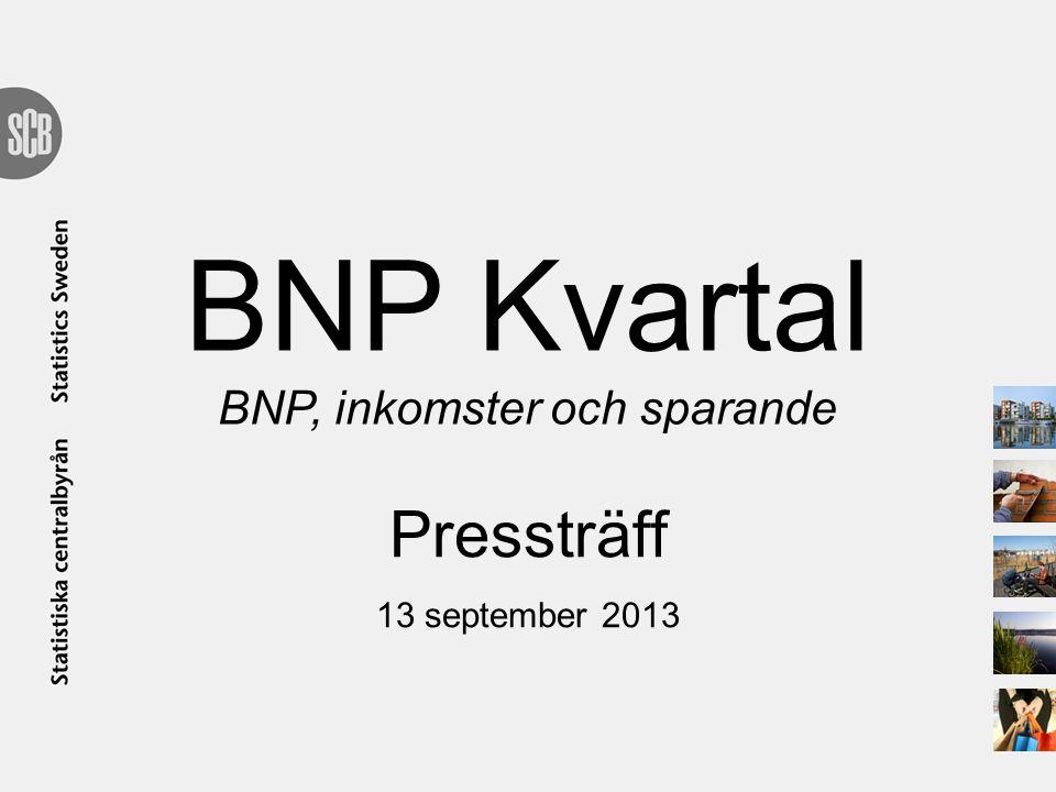 BNP Kvartal BNP, inkomster och sparande Pressträff 13 september 2013