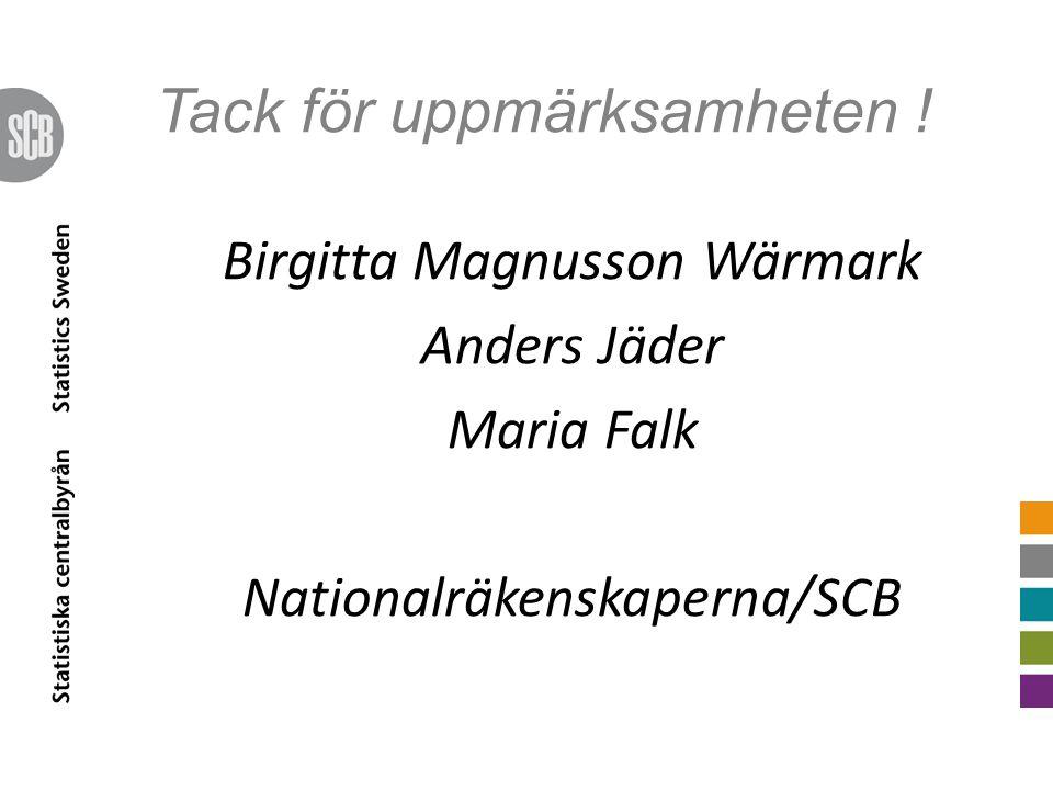 Tack för uppmärksamheten ! Birgitta Magnusson Wärmark Anders Jäder Maria Falk Nationalräkenskaperna/SCB