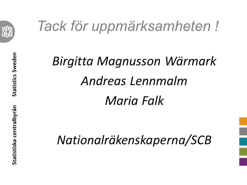 Tack för uppmärksamheten ! Birgitta Magnusson Wärmark Andreas Lennmalm Maria Falk Nationalräkenskaperna/SCB