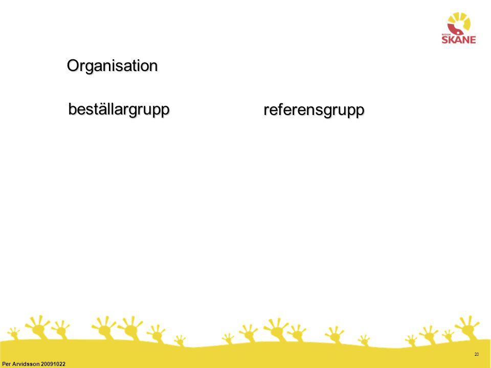 20 Per Arvidsson 20091022 Organisation beställargrupp referensgrupp