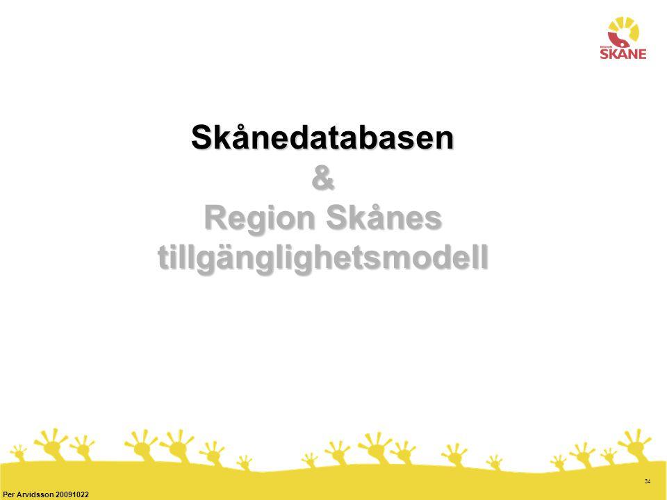 34 Per Arvidsson 20091022 Skånedatabasen & Region Skånes tillgänglighetsmodell