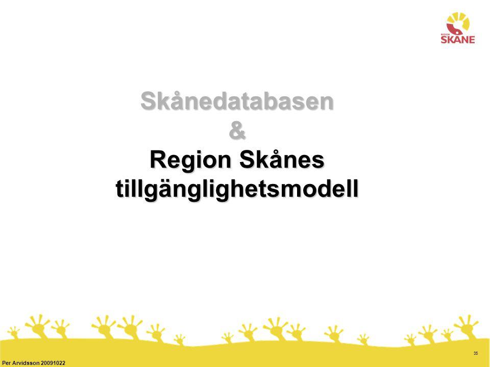35 Per Arvidsson 20091022 Skånedatabasen & Region Skånes tillgänglighetsmodell