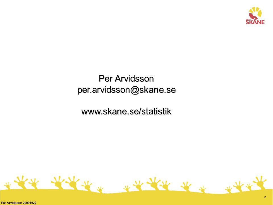 47 Per Arvidsson 20091022 Per Arvidsson per.arvidsson@skane.sewww.skane.se/statistik