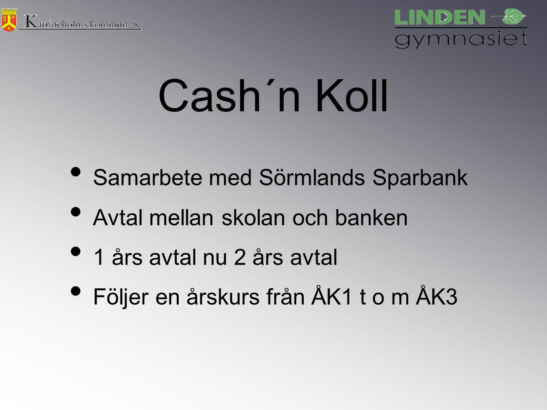 Cash´n Koll Samarbete med Sörmlands Sparbank Avtal mellan skolan och banken 1 års avtal nu 2 års avtal Följer en årskurs från ÅK1 t o m ÅK3