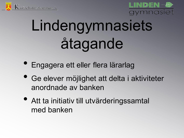 Lindengymnasiets åtagande Engagera ett eller flera lärarlag Ge elever möjlighet att delta i aktiviteter anordnade av banken Att ta initiativ till utvärderingssamtal med banken
