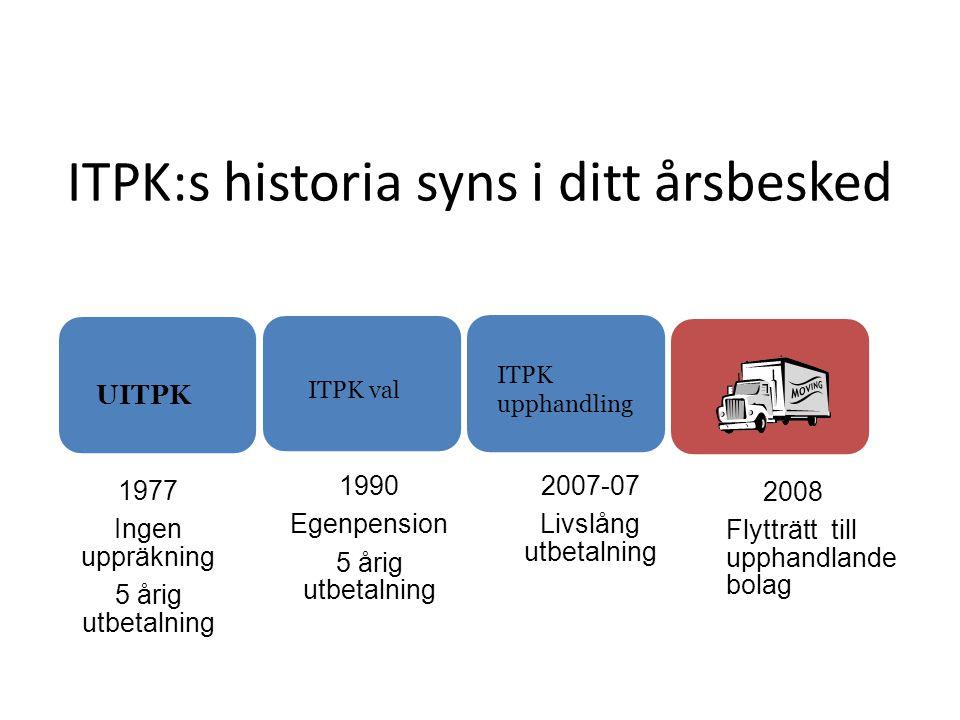 ITPK:s historia syns i ditt årsbesked 1977 Ingen uppräkning 5 årig utbetalning 1990 Egenpension 5 årig utbetalning 2007-07 Livslång utbetalning 2008 F
