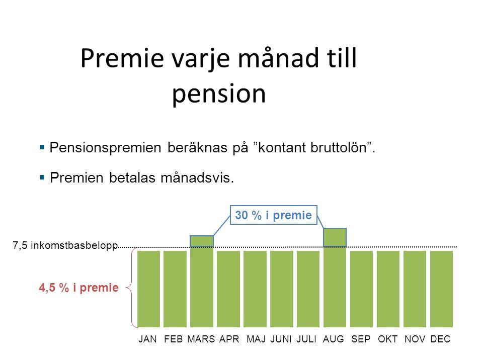 """Premie varje månad till pension  Pensionspremien beräknas på """"kontant bruttolön"""".  Premien betalas månadsvis. 7,5 inkomstbasbelopp 30 % i premie 4,5"""