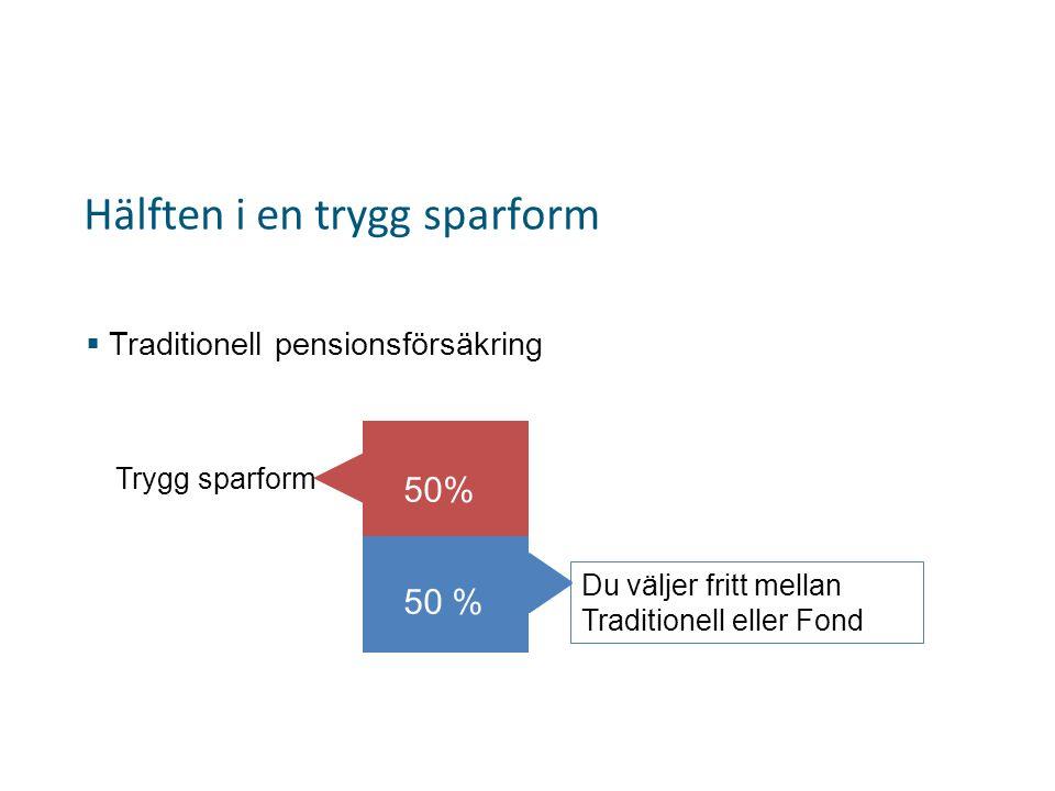 Hälften i en trygg sparform  Traditionell pensionsförsäkring Trygg sparform 50% Du väljer fritt mellan Traditionell eller Fond