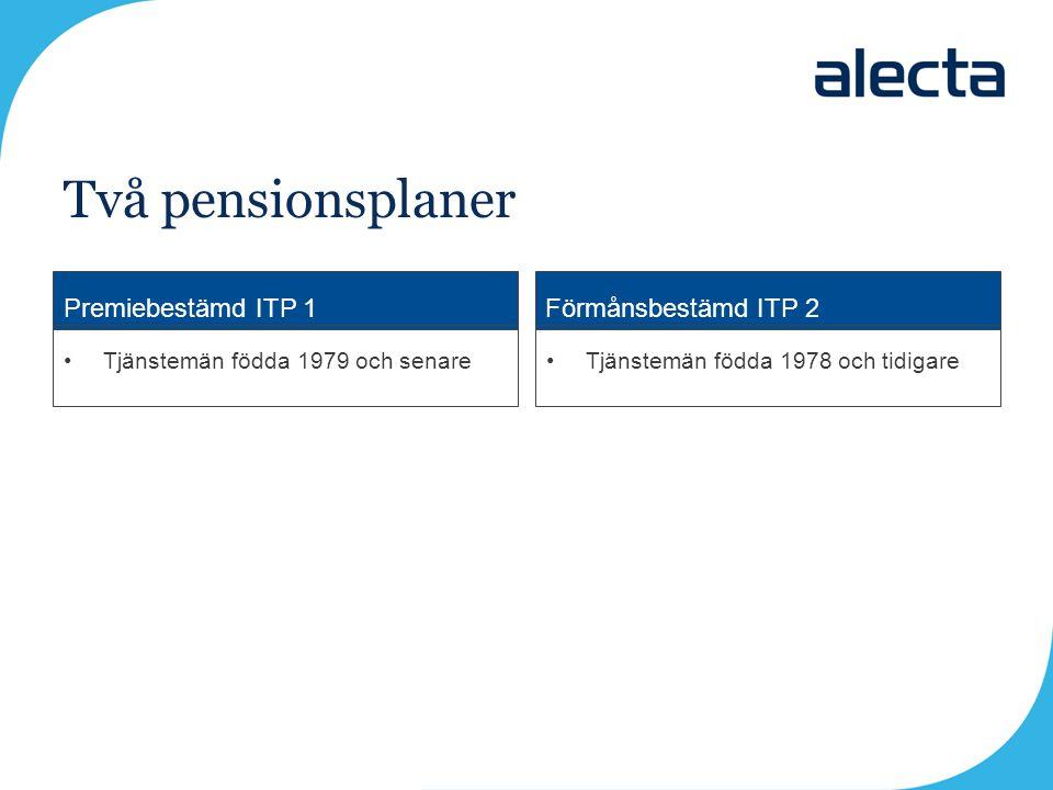 Premiebestämd ITP 1Förmånsbestämd ITP 2 Tjänstemän födda 1979 och senareTjänstemän födda 1978 och tidigare Två pensionsplaner