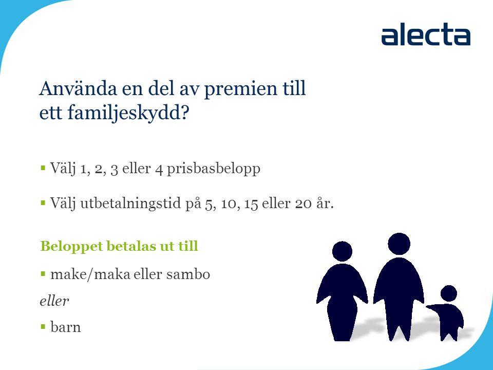 Använda en del av premien till ett familjeskydd?  Välj 1, 2, 3 eller 4 prisbasbelopp  Välj utbetalningstid på 5, 10, 15 eller 20 år. Beloppet betala
