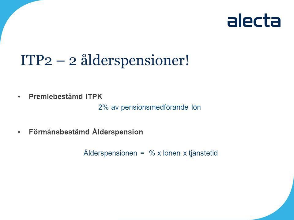 Premiebestämd ITPK 2% av pensionsmedförande lön Förmånsbestämd Ålderspension Ålderspensionen = % x lönen x tjänstetid ITP2 – 2 ålderspensioner!