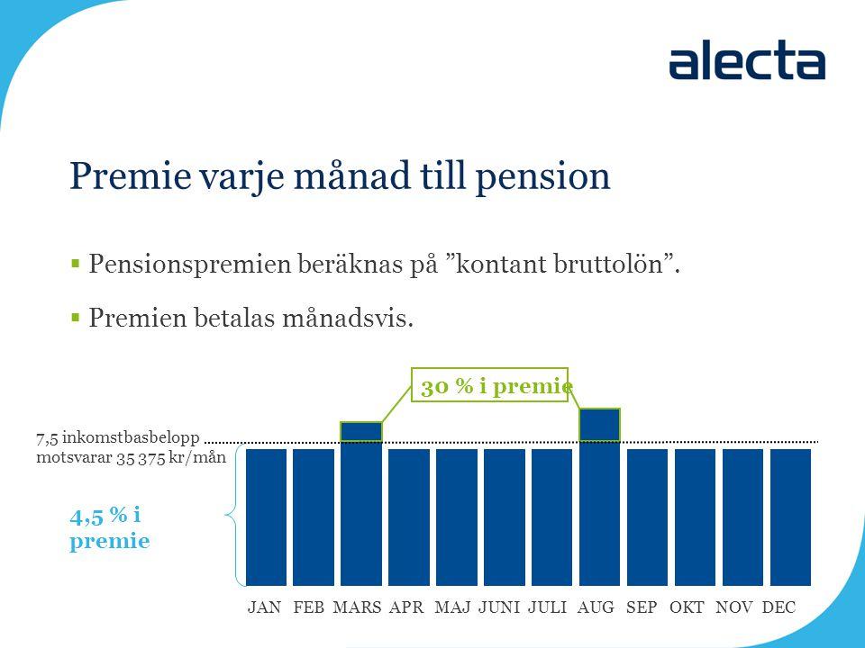"""Premie varje månad till pension  Pensionspremien beräknas på """"kontant bruttolön"""".  Premien betalas månadsvis. 7,5 inkomstbasbelopp motsvarar 35 375"""