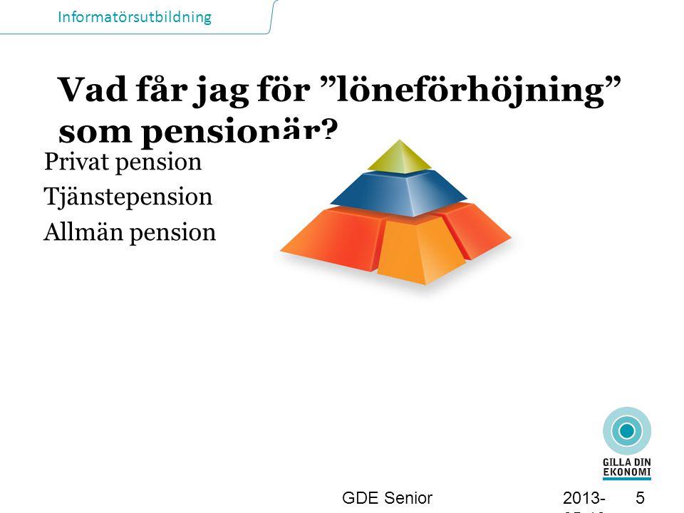 Informatörsutbildning Omräkning av allmän pension Sker varje årsskifte Inkomst- och tilläggspension följer löneutvecklingen.