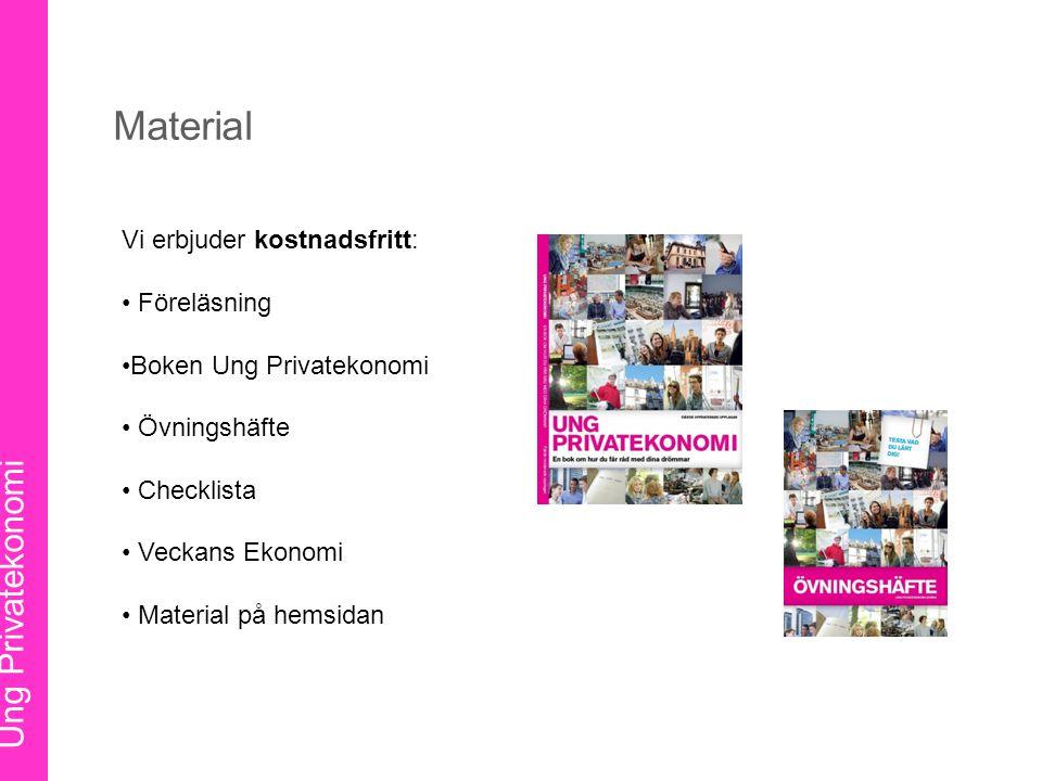 Ung Privatekonomi Vi erbjuder kostnadsfritt: Föreläsning Boken Ung Privatekonomi Övningshäfte Checklista Veckans Ekonomi Material på hemsidan Material