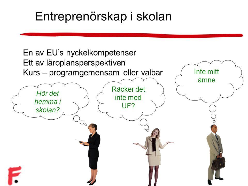 Självständighet Företagsamhet Lust att lära Entreprenörskap i skolan En av EU's nyckelkompetenser Ett av läroplansperspektiven Kurs – programgemensam eller valbar Hör det hemma i skolan.