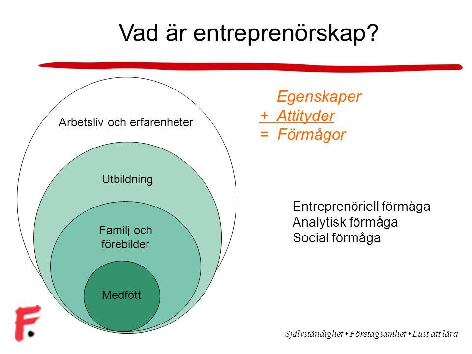 Självständighet Företagsamhet Lust att lära Vad är entreprenörskap.