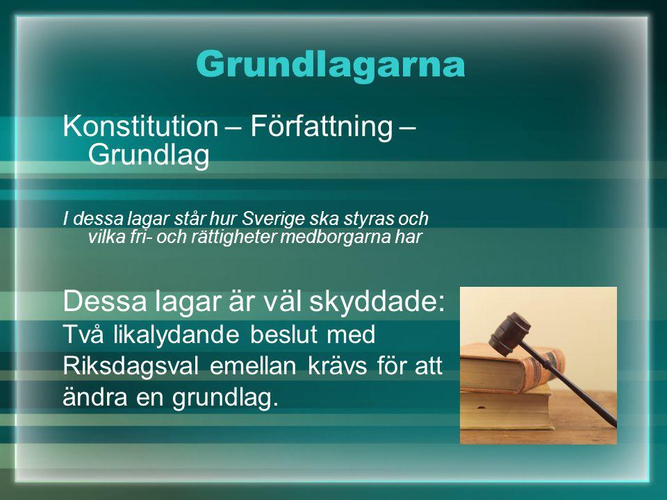 Grundlagarna Konstitution – Författning – Grundlag I dessa lagar står hur Sverige ska styras och vilka fri- och rättigheter medborgarna har Dessa laga