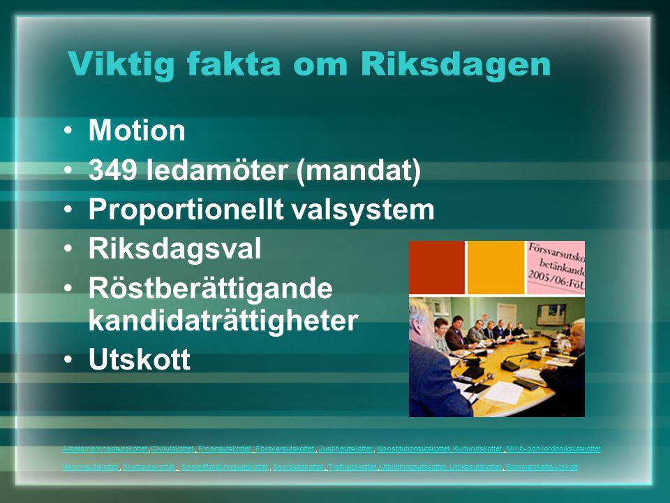 Motion 349 ledamöter (mandat) Proportionellt valsystem Riksdagsval Röstberättigande kandidaträttigheter Utskott Viktig fakta om Riksdagen Arbetsmarkna