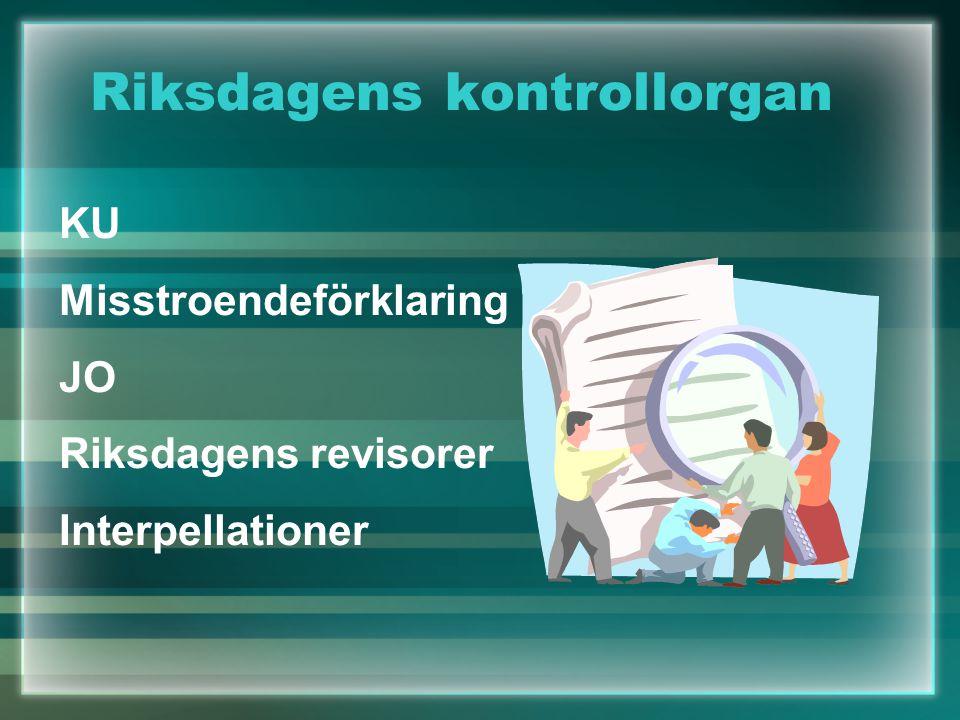 Riksdagens kontrollorgan KU Misstroendeförklaring JO Riksdagens revisorer Interpellationer