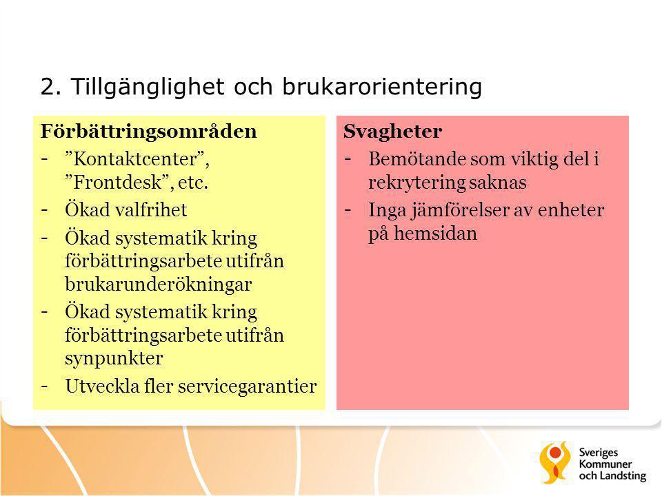 2. Tillgänglighet och brukarorientering Förbättringsområden - Kontaktcenter , Frontdesk , etc.