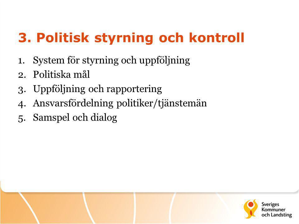 3. Politisk styrning och kontroll 1.System för styrning och uppföljning 2.Politiska mål 3.Uppföljning och rapportering 4.Ansvarsfördelning politiker/t