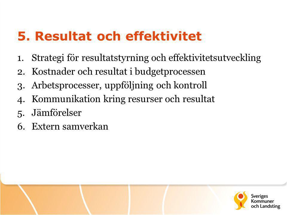 5. Resultat och effektivitet 1.Strategi för resultatstyrning och effektivitetsutveckling 2.Kostnader och resultat i budgetprocessen 3.Arbetsprocesser,