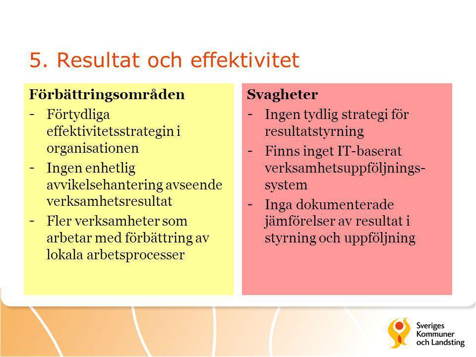 5. Resultat och effektivitet Förbättringsområden - Förtydliga effektivitetsstrategin i organisationen - Ingen enhetlig avvikelsehantering avseende ver