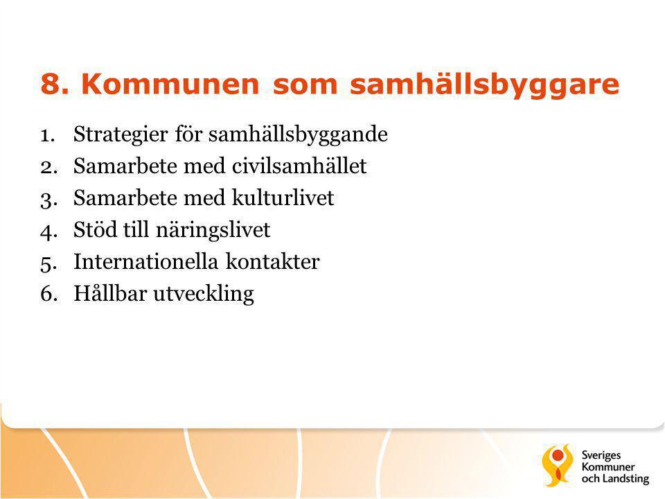 8. Kommunen som samhällsbyggare 1.Strategier för samhällsbyggande 2.Samarbete med civilsamhället 3.Samarbete med kulturlivet 4.Stöd till näringslivet