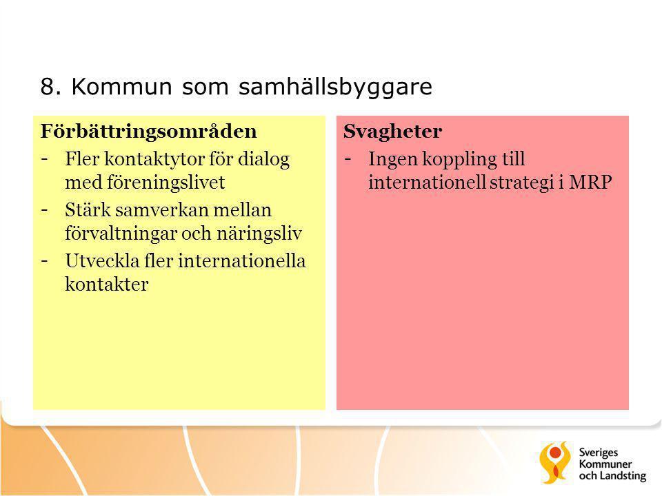 8. Kommun som samhällsbyggare Förbättringsområden - Fler kontaktytor för dialog med föreningslivet - Stärk samverkan mellan förvaltningar och näringsl
