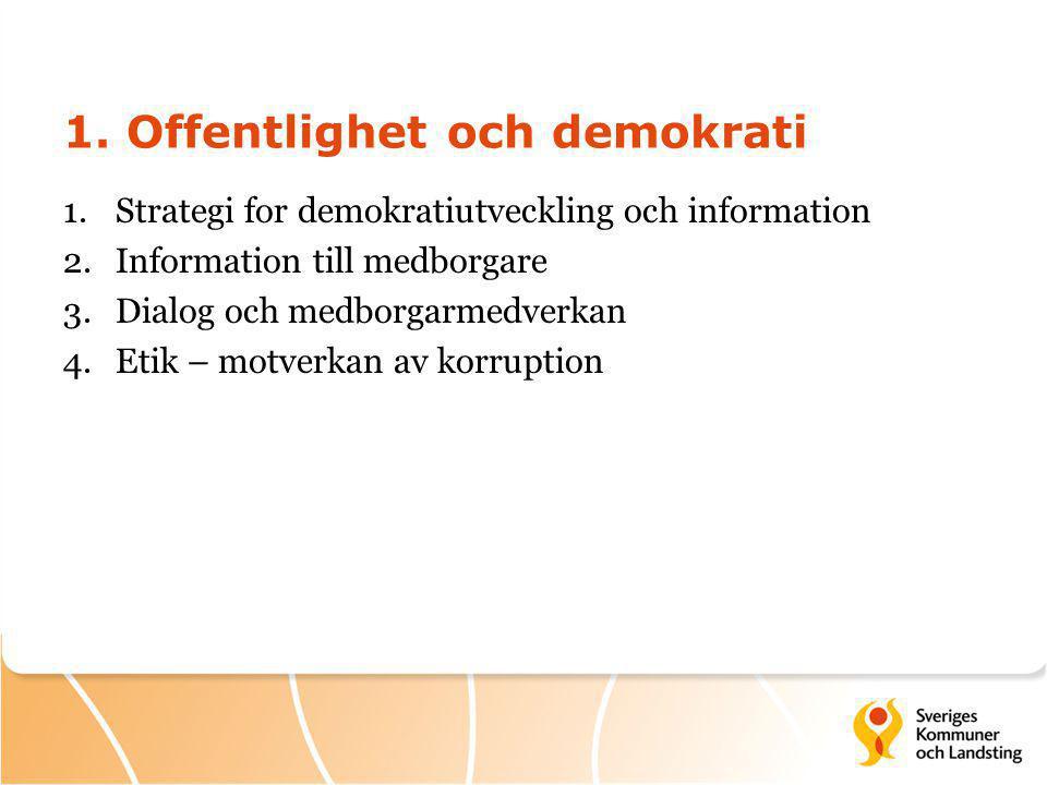 1. Offentlighet och demokrati 1.Strategi for demokratiutveckling och information 2.Information till medborgare 3.Dialog och medborgarmedverkan 4.Etik