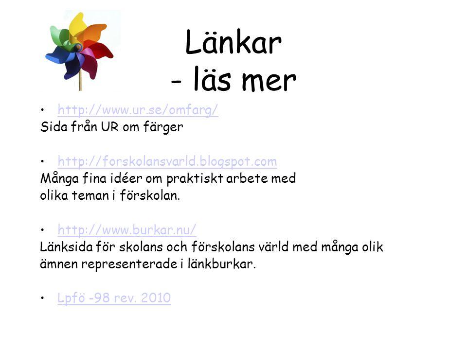 Länkar - läs mer http://www.ur.se/omfarg/ Sida från UR om färger http://forskolansvarld.blogspot.com Många fina idéer om praktiskt arbete med olika te