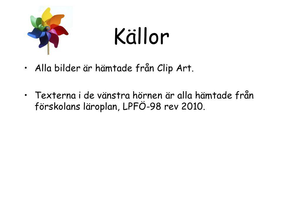 Källor Alla bilder är hämtade från Clip Art. Texterna i de vänstra hörnen är alla hämtade från förskolans läroplan, LPFÖ-98 rev 2010.